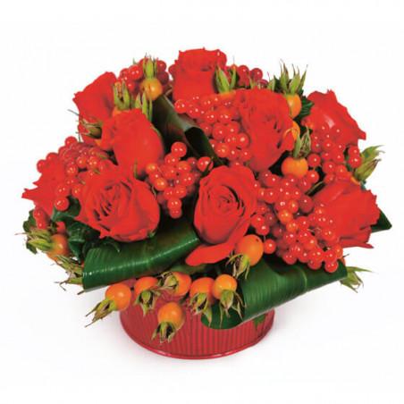 L'Agitateur Floral | image de la composition de fleurs rouges Malaga