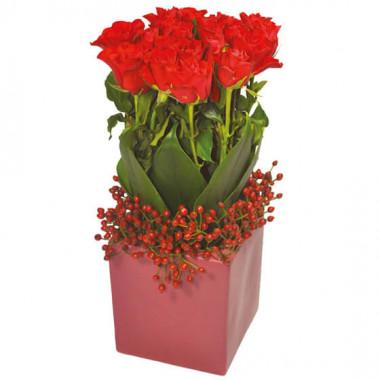 L'Agitateur Floral | image de l'arrangement floral carré de roses rouges