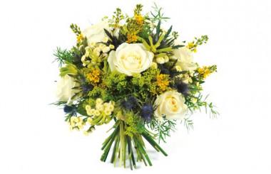 Image du bouquet rond de fleurs blanche et jaune