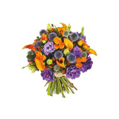 image du bouquet de fleurs mauve et orange Luberon