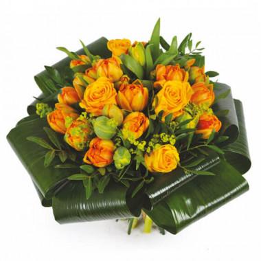 L'Agitateur Floral | image du Bouquet rond orange Mandarine