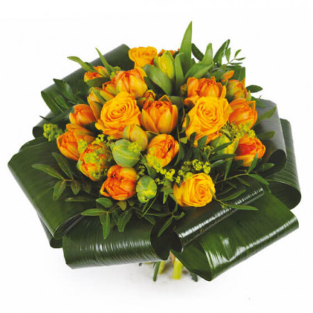 L'Agitateur Floral | image du Bouquet rond orange Mandarine