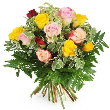 L'Agitateur Floral | image du bouquet rond de roses multicolores Dame Rose