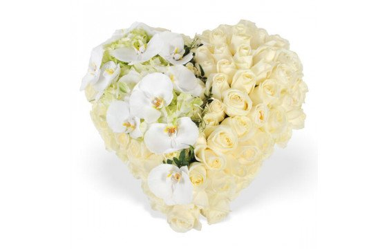 L'Agitateur Floral | image du coeur de deuil blanc chérubin