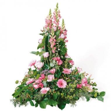 L'Agitateur Floral | image de la composition de deuil dans les tons roses Pensées