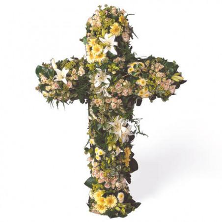 L'Agitateur Floral | image de la grande croix en fleurs pour un deuil Universel