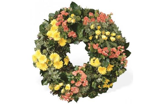 L'Agitateur Floral | image de la couronne de deuil jaune et rose du nom de témoignage éternel