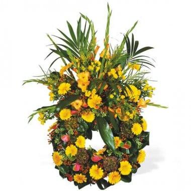 L'Agitateur Floral | image de la couronne de deuil de fleurs jaunes du nom de Lumière