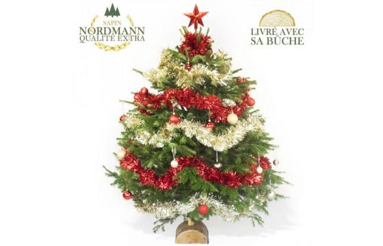 Sapin De Noël Décoré Rouge Et Or
