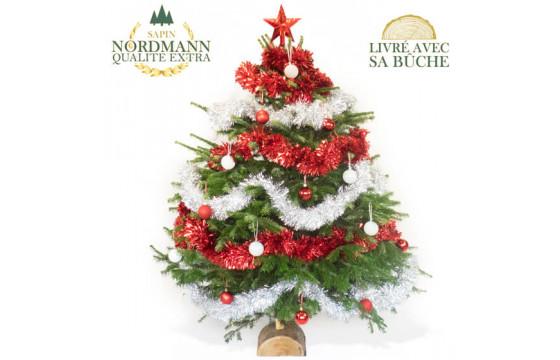 Livraison Sapin De Noel DéCoré Sapin de Noël Décoré Rouge et Argent | Livraison par un fleuriste