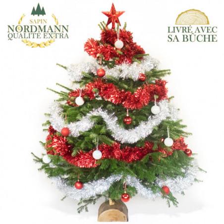 Sapin De Noël Décoré Rouge Et Argent Livraison Par Un Fleuriste