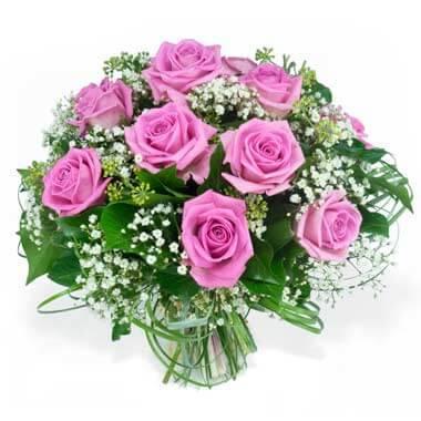 L'Agitateur Floral | image du bouquet de roses roses et gypsophile pluie de roses