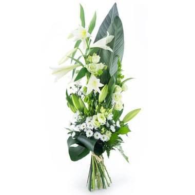 L'Agitateur Floral | Image du bouquet de deuil dans les tons blancs du nom de Condoléances