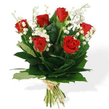 Bouquet de Muguet & Roses Rouges