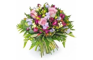 L'Agitateur Floral |Image du bouquet de fleurs rond tons rose et parme Eclat