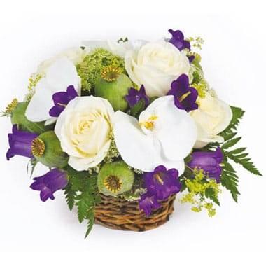 L'Agitateur Floral |image du panier de fleurs dans les tons blanc et mauve Sourire