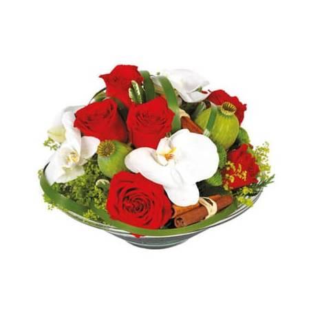 L'Agitateur Floral | image de la composition de roses rouges et orchidées blanches Perle de Rose