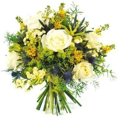 L'Agitateur Floral |Image du bouquet rond de fleurs blanche et jaune