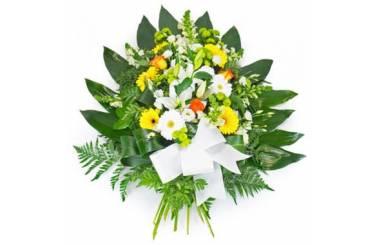 L'Agitateur Floral | image de la gerbe de fleurs dans les tons jaune, orange et blanc