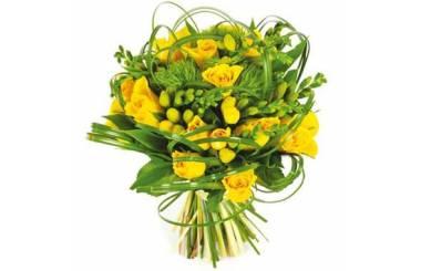 L'Agitateur Floral |Image du bouquet de fleurs Vert tige dans les tons jaune et vert