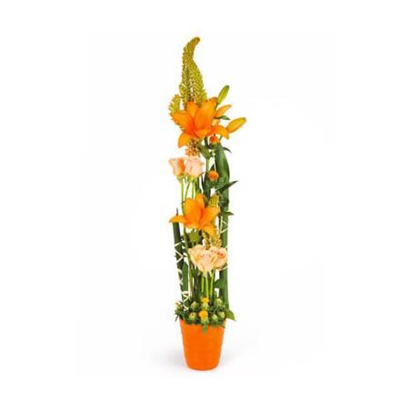 L'Agitateur Floral |image de la composition en hauteur dans les tons orange Unique