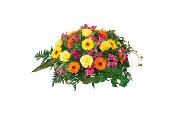 L'Agitateur Floral | image de la composition de fleurs pour un deuil tons jaune & orange Univers