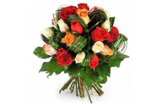L'Agitateur Floral | image du bouquet rond de roses colorées Joie