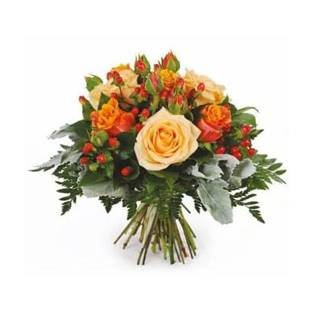 L'Agitateur Floral | Image du bouquet de roses orange et saumon