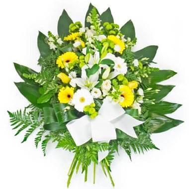 L'Agitateur Floral | image de la gerbe de fleurs de deuil dans les tons jaune et blanc
