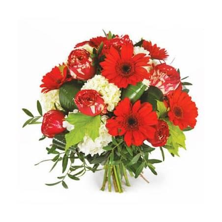 L'Agitateur Floral |image du bouquet rond de fleurs dans les tons rouges