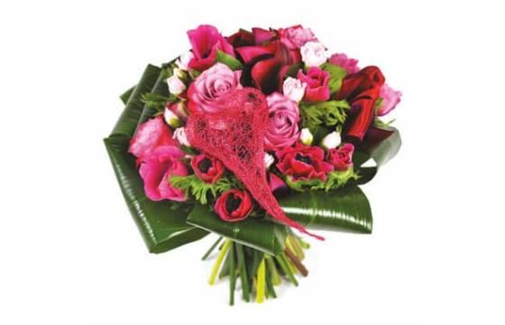 L'Agitateur Floral | image du Bouquet rond de fleurs roses Framboisine