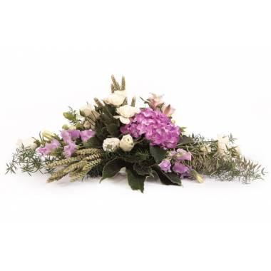 L'Agitateur Floral | image de la raquette de deuil parme & blanche Affection