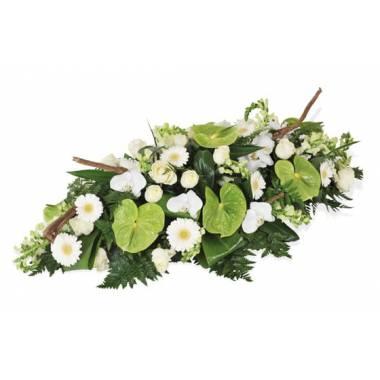 L'Agitateur Floral | image de la raquette de deuil vertes & blanche du nom de Commémoration