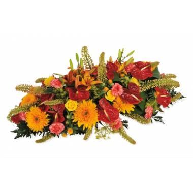 L'Agitateur Floral | image de la raquette de deuil rouge et orange du nom de L'Eclipse