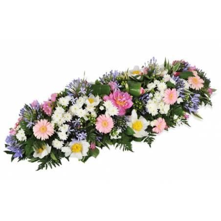 L'Agitateur Floral | image de la raquette de deuil dans les tons roses blanc & mauve L'Aurore