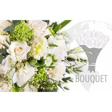 L'Agitateur Floral | image du bouquet pour l'international dans les tons blancs