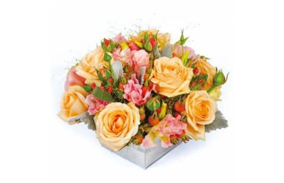 L'Agitateur Floral | image de la composition florale de roses multicolores Miel