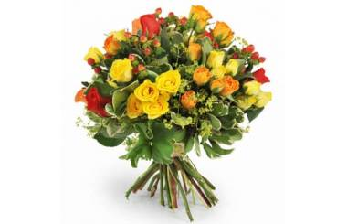 L'Agitateur Floral | image du bouquet coloré de roses jaunes, oranges & rouges