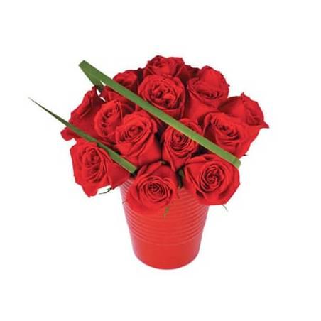 L'Agitateur Floral | image du bouquet de roses rouges en pot Grenade