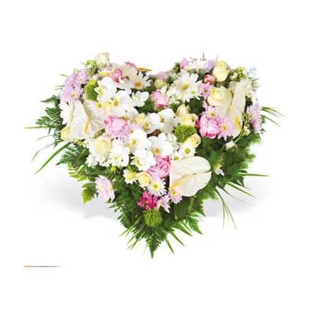 L'Agitateur Floral | Image du coeur de deuil dans les tons blanc et rose