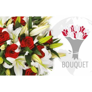 L'Agitateur Floral | image du bouquet à faire livrer à l'international dans les tons rouges & blancs