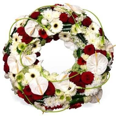 L'Agitateur Floral | image de la couronne de deuil rouge et blanche repos infini