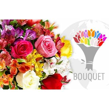 L'Agitateur Floral | image du bouquet de fleurs coloré à livrer à l'international