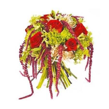 L'Agitateur Floral |image du bouquet de roses rouge et amarante Révélation