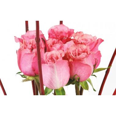 vue sur les roses rose de la composition florale