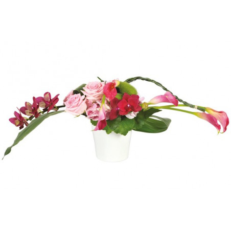 image de la composition de fleurs roses et fuschia pureté des sens