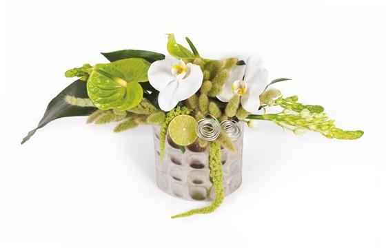 composition de fleurs vertes et blanches livraison par un fleuriste l 39 agitateur floral. Black Bedroom Furniture Sets. Home Design Ideas