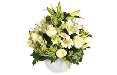 image de la composition florale ronde Pureté