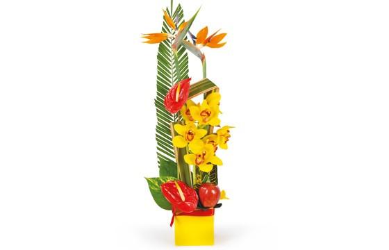 image de la composition de fleurs en hauteur tons rouge, orange & jaune Tropique