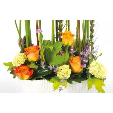image des roses oranges de la création florale